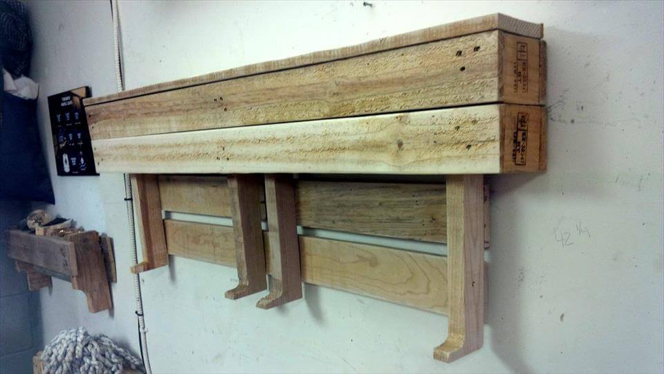 Custom Pallet Wall Shelf + Wood Hooks