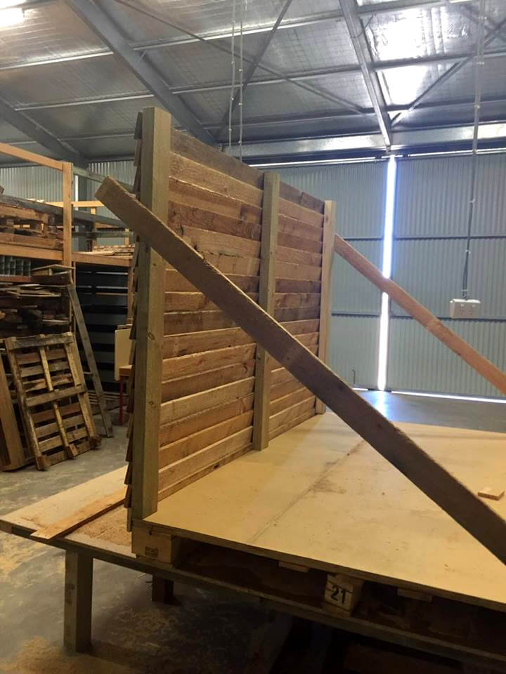pallet playhouse installation