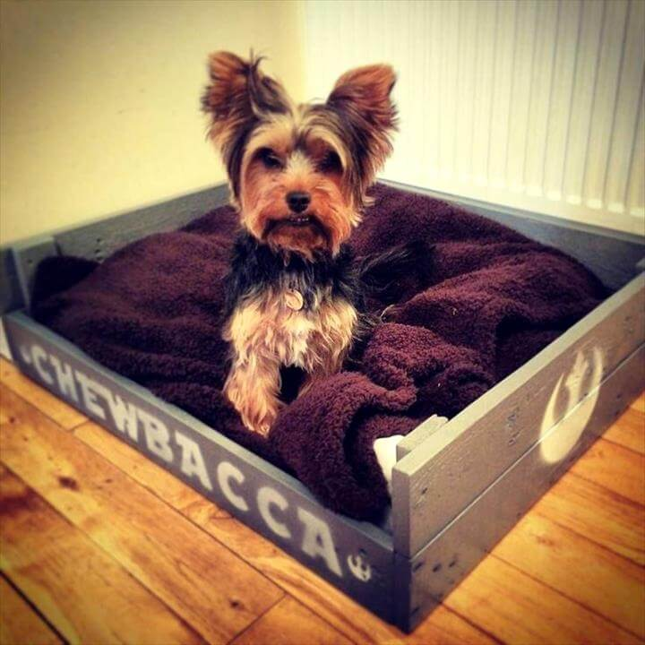 rustic personalized pallet dog bed