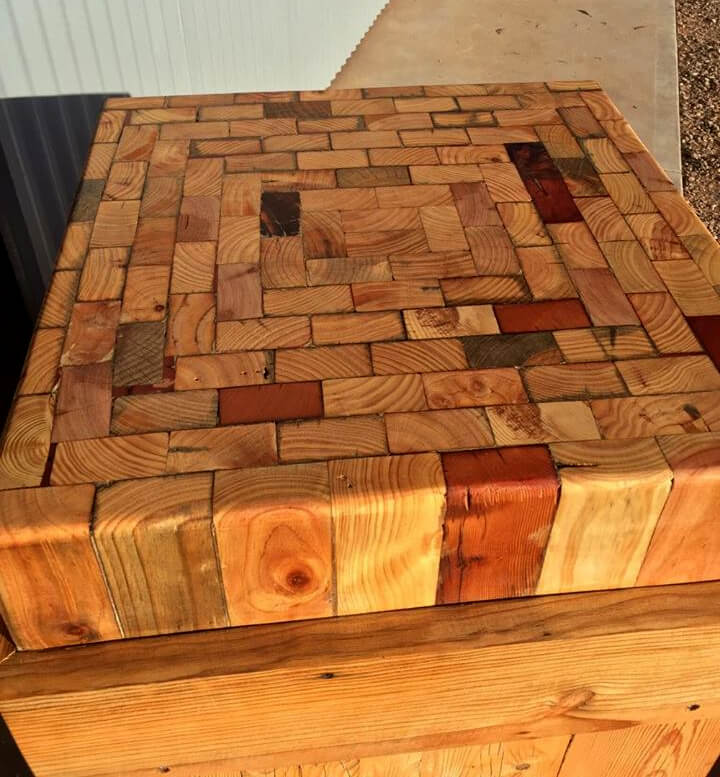 multipurpose pallet wood table with mosaic top