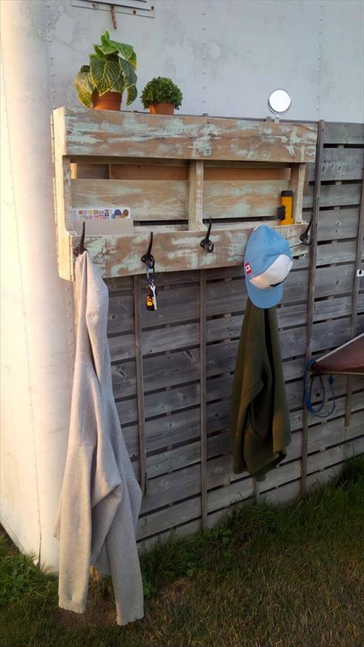 Rustic Pallet Coat Rack With Shelf