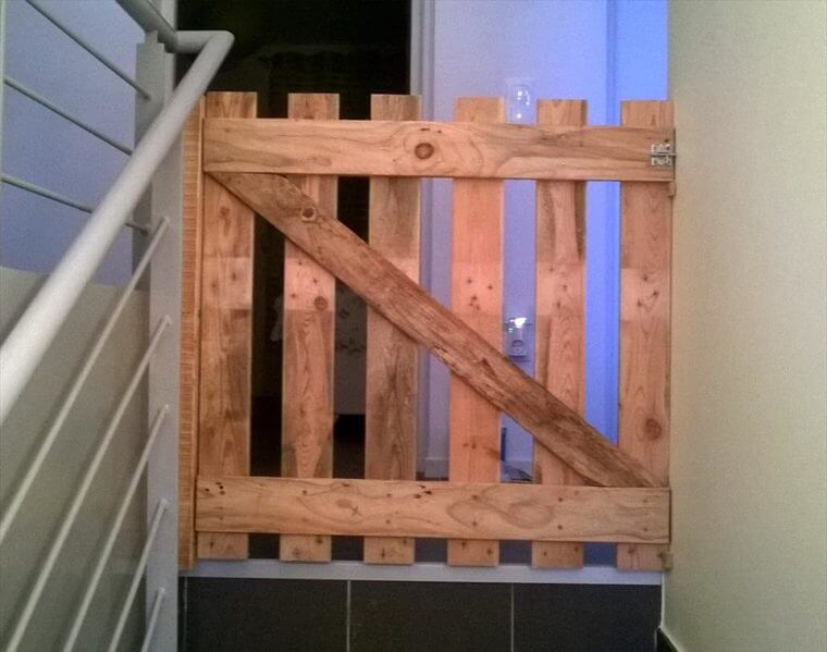 repurposed wooden pallet baby gate