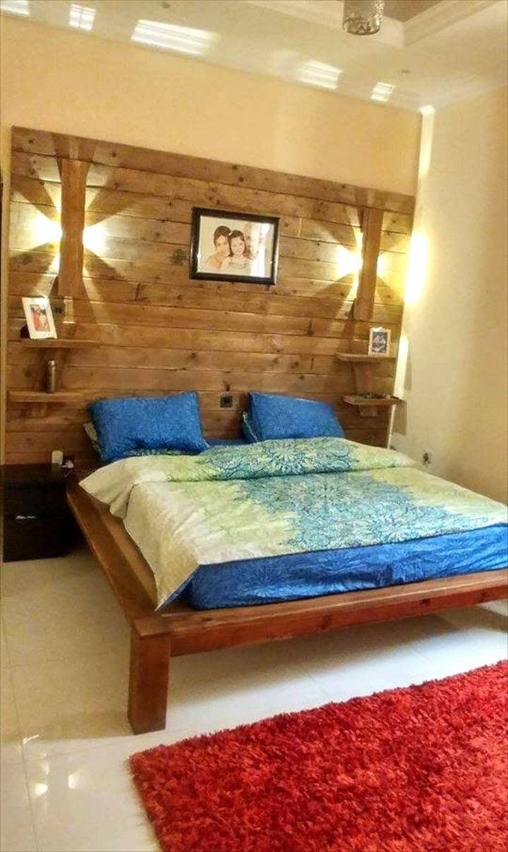 DIY Pallet Bed with Wall Headboard + Lamps & Shelf