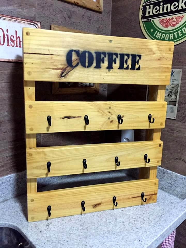 upcycled wooden pallet coffee mug rack
