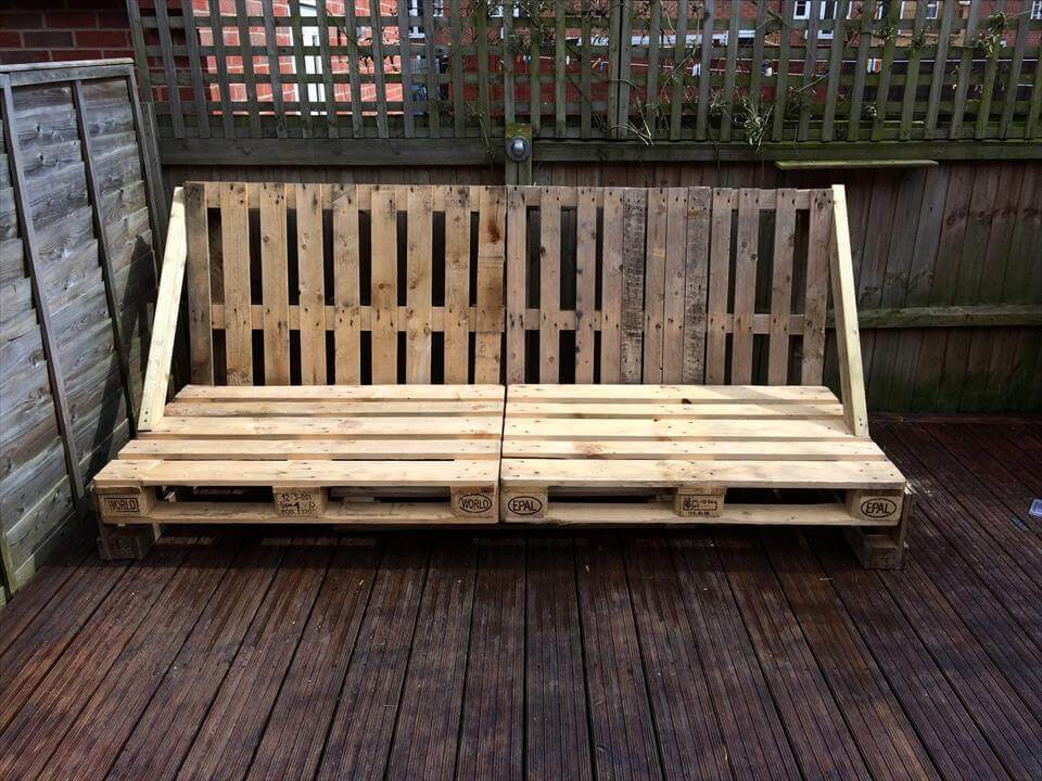 Wooden Deck With Pallet Sofa And Coffee Table 101