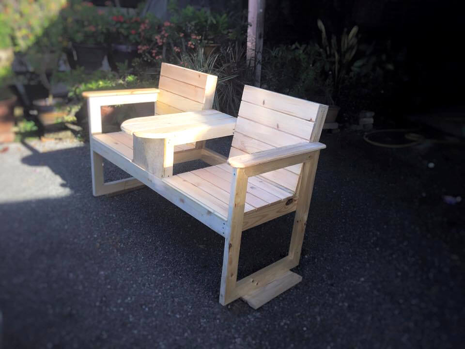 sturdy wooden pallet double chair bench