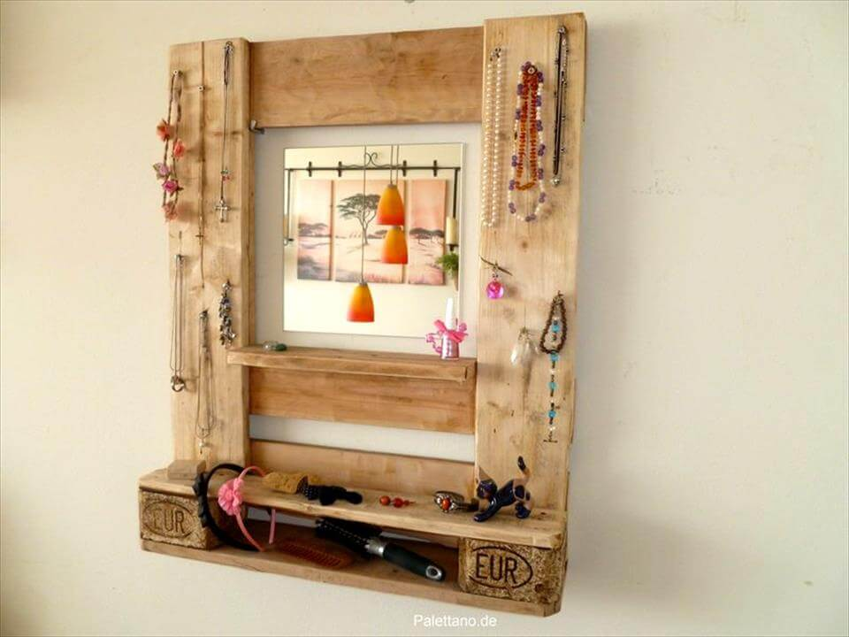pallet jewelry organizer with mirror