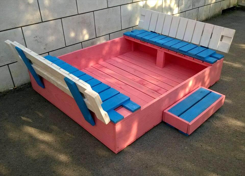 Build a covered pallet sandbox diy