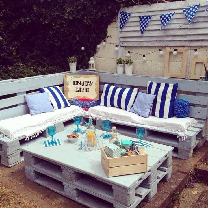 wooden pallet patio or terrace sofa set