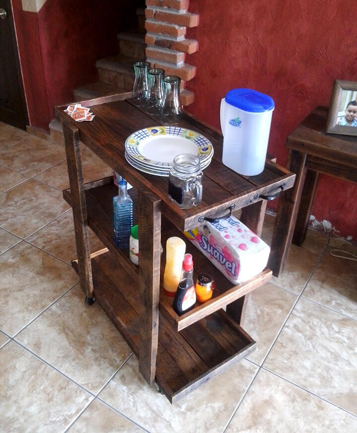 handcrafted wooden pallet trolley
