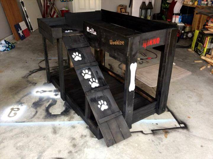 black painted pallet raised dog bed with stair steps