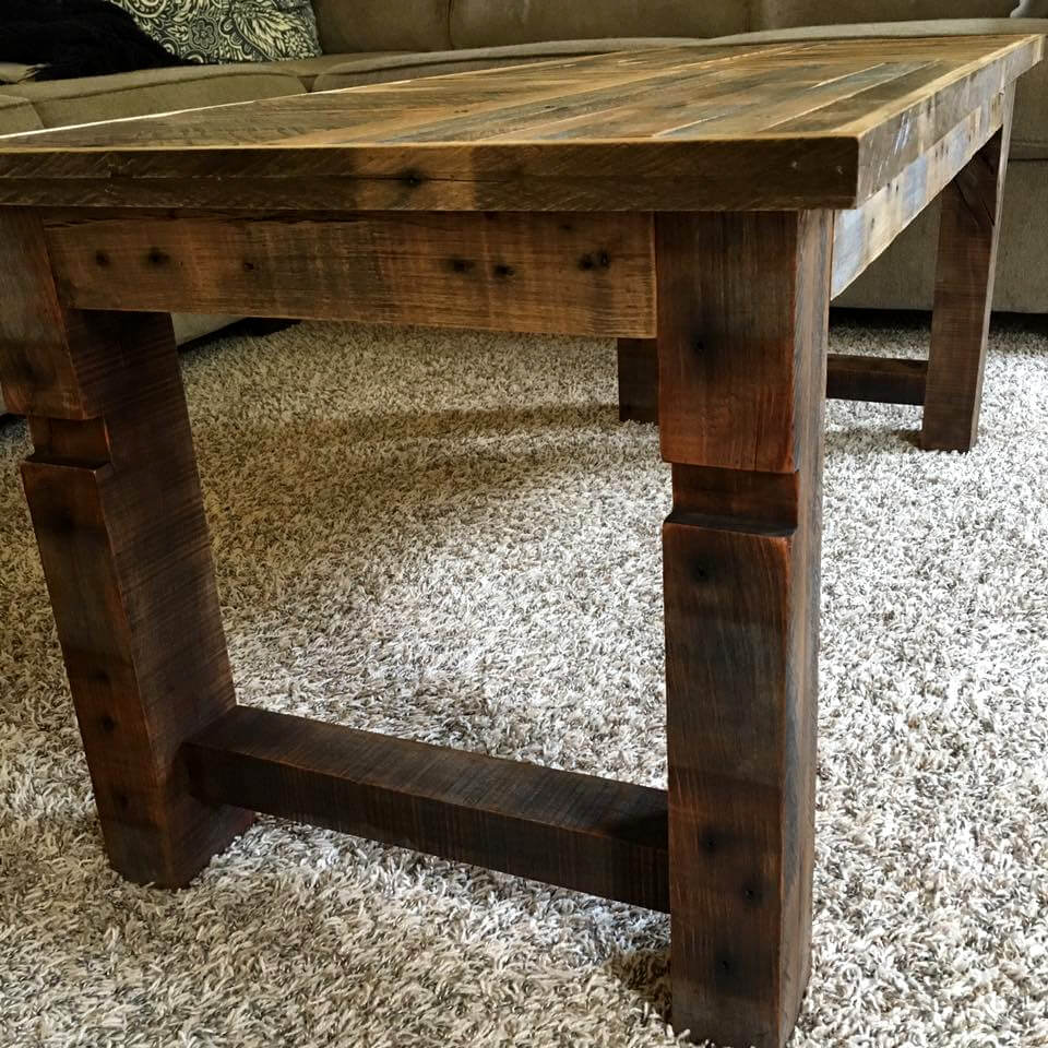 handcrafted oak pallet coffee table
