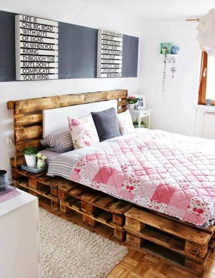 diy stacked pallet bed with headboard