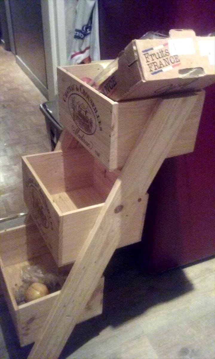 3 Tiered Pallet Vegetable Basket Rack 101 Pallet Ideas