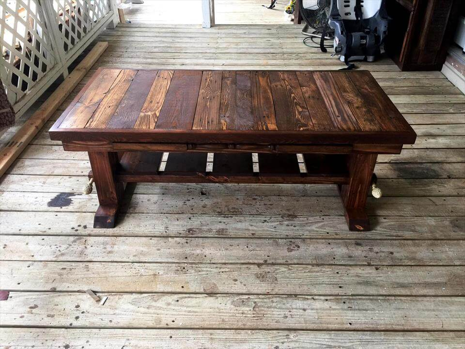 Antique Large Pallet Coffee Table 101 Pallet Ideas