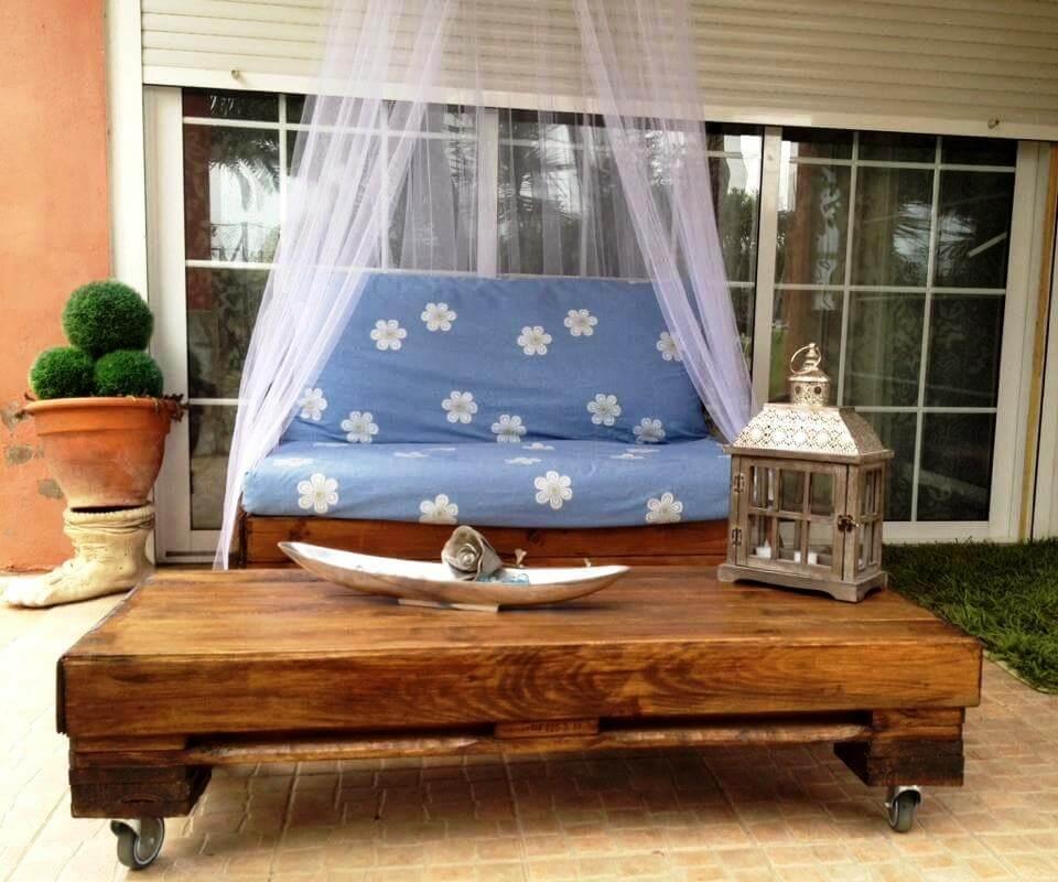 rústico palet acolchado muebles de jardín