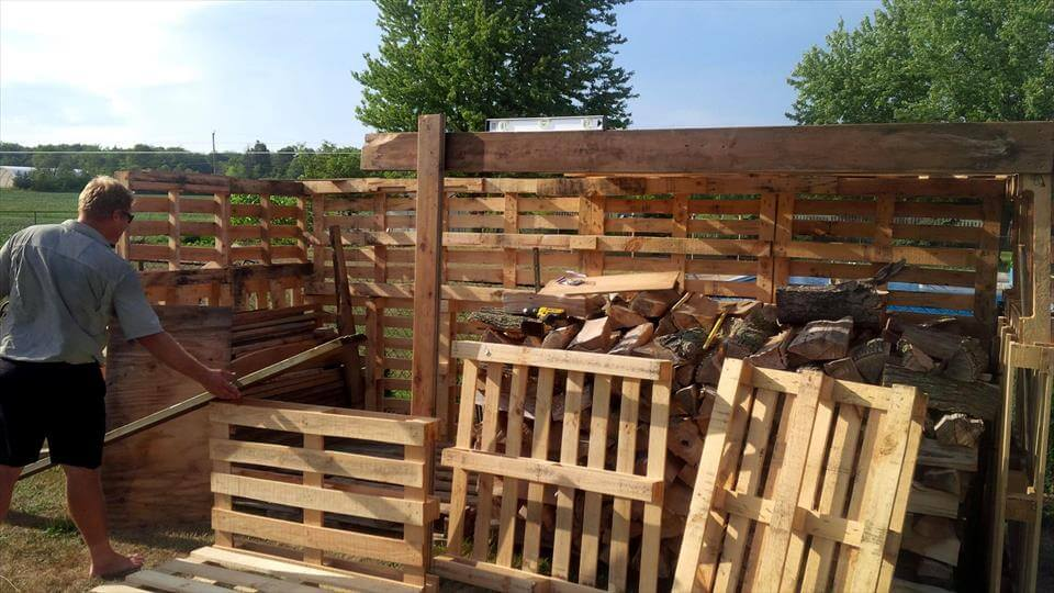 building a large pallet firewood shed