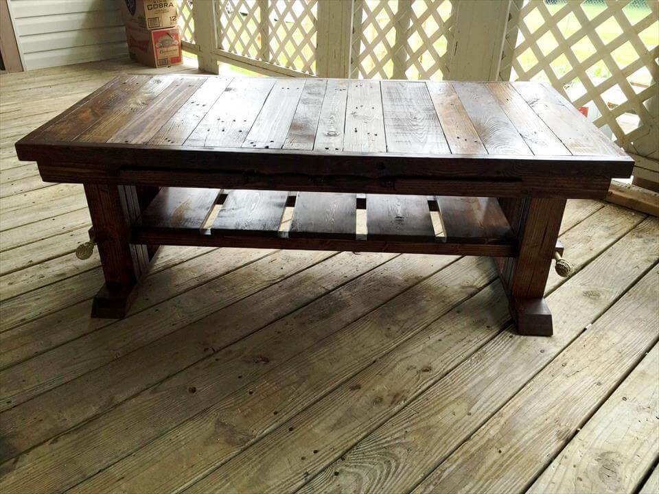 antique large pallet coffee table. Black Bedroom Furniture Sets. Home Design Ideas