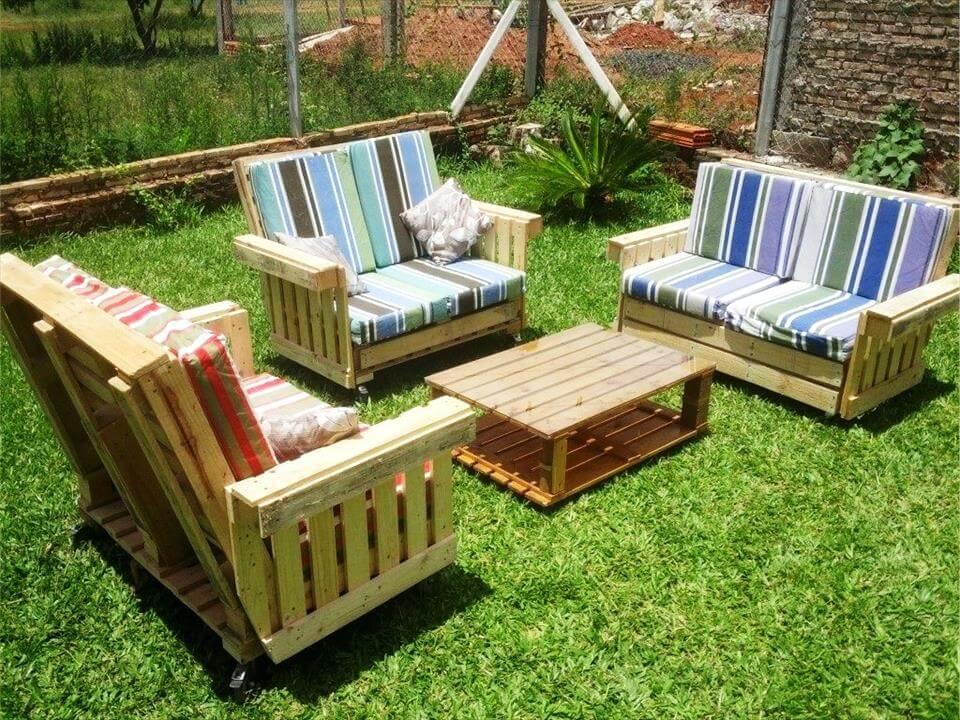 amortiguado jardín palet muebles que se sienta