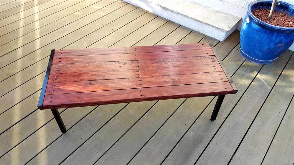 mahogany stained pallet coffee table - 101 pallet ideas
