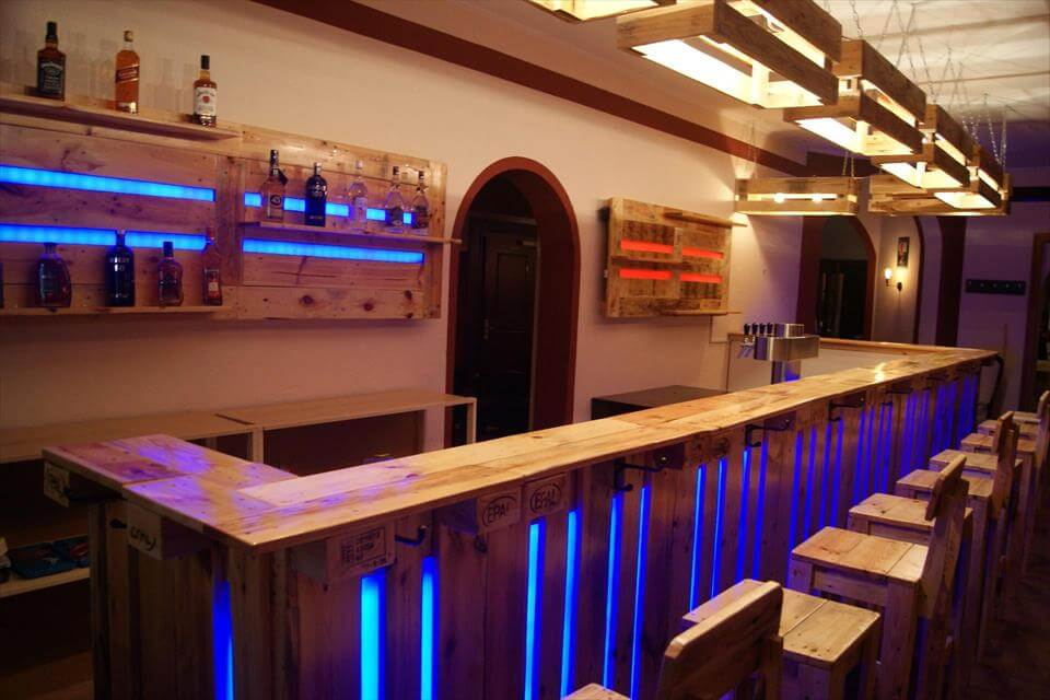 Gorgeous wood pallet bar projects - Fabriquer un bar en palette ...