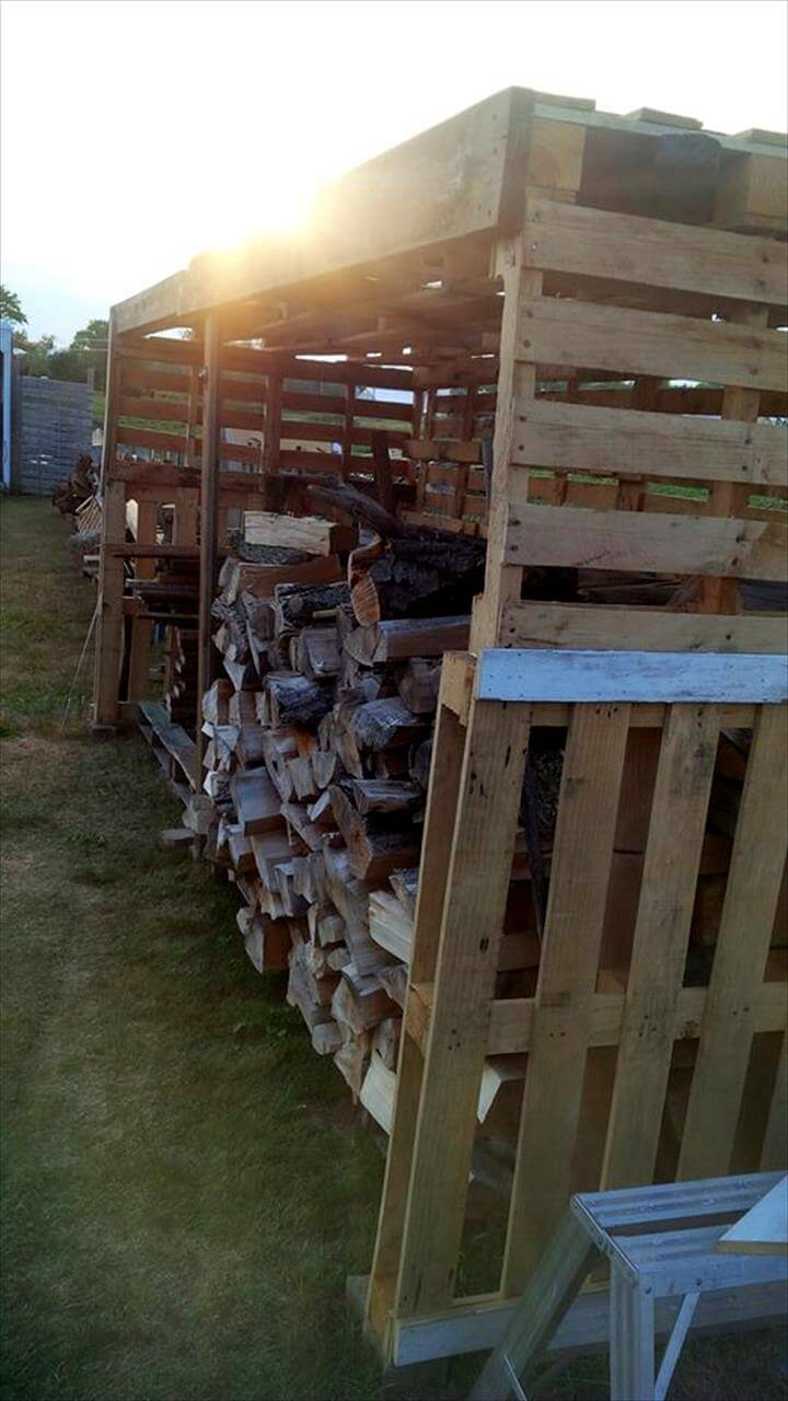 no-cost pallet firewood shed