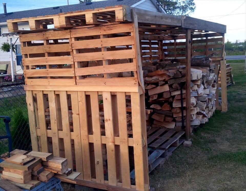 robust wooden pallet firewood shed
