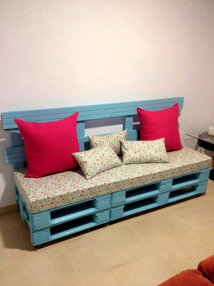 bricolaje gris asiento de palets apilados pintada