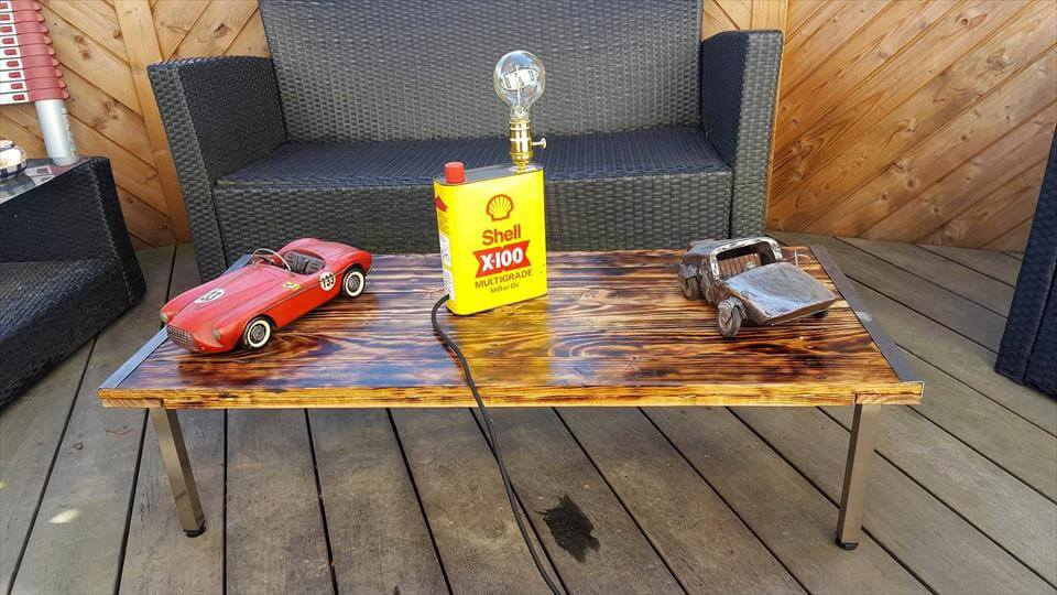Scorched Pallet Wood Coffee Table