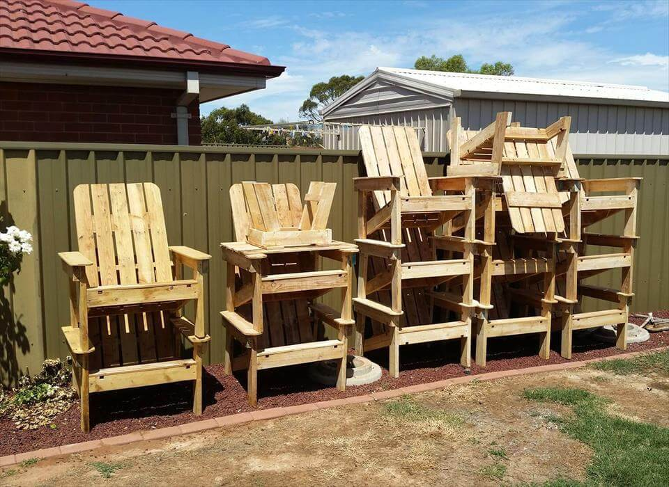 wooden chairs made of pallets