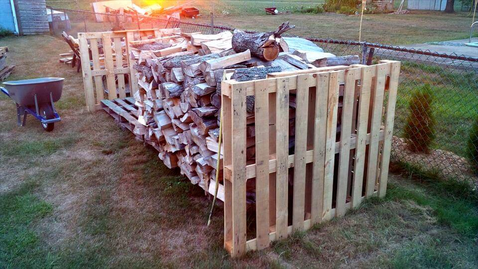 pallet firewood shed installation