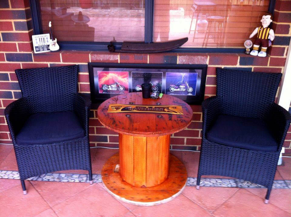 recycled spool bar side table or coffee table
