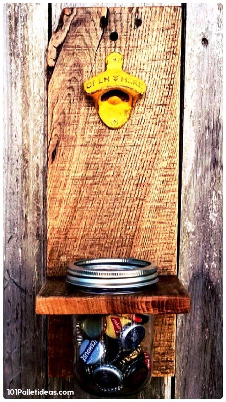 upcycled wooden pallet and Mason jar bottle opener