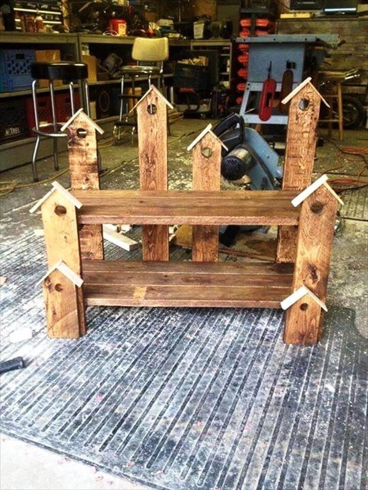 Pallet Birdhouse Bench