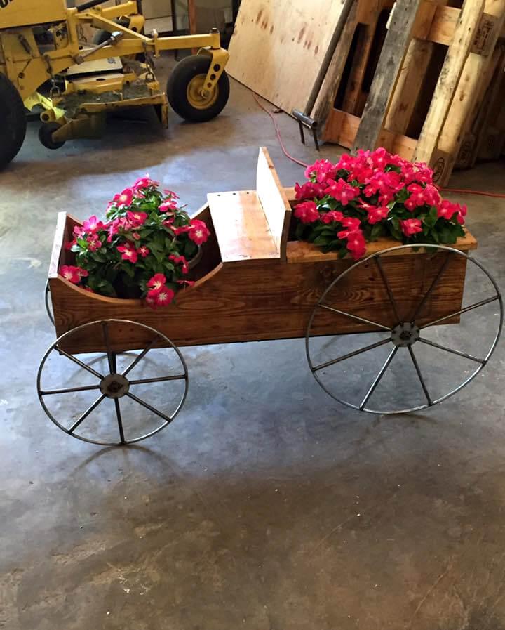 Repurposed Pallet And Cart Wheel Garden Cart Planter
