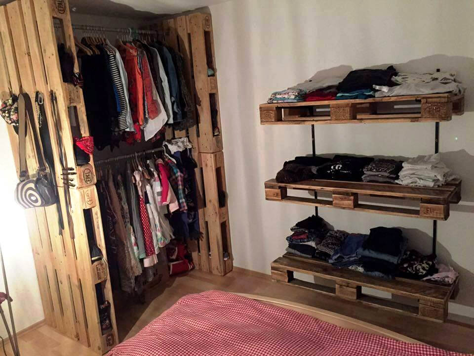 amazing pallet closet or wardrobe