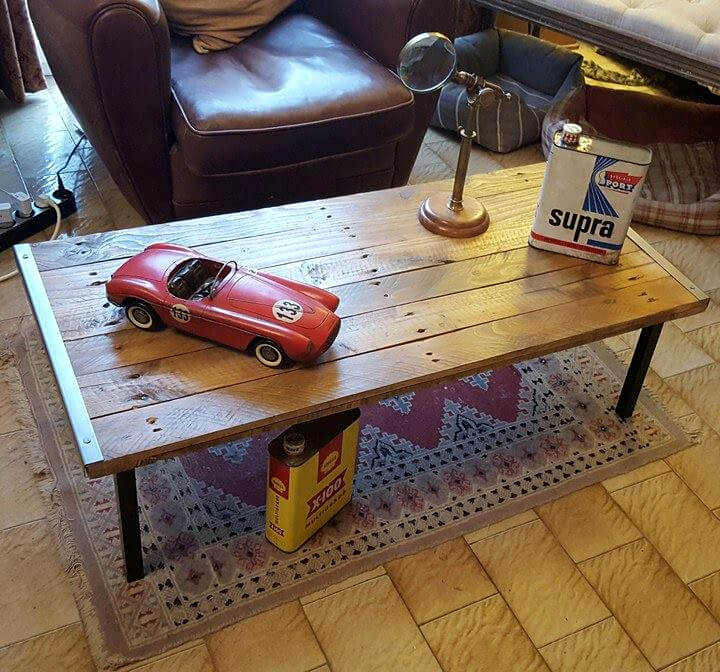 Pallet and Metal Industrial Coffee Table