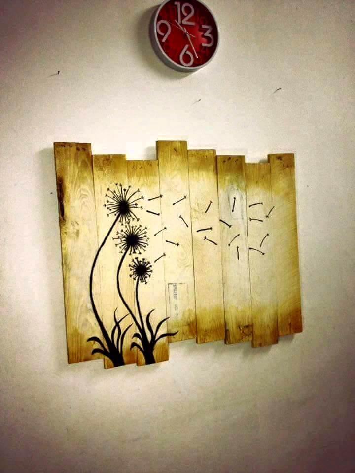 no-cost wooden pallet dandelion flower wall art