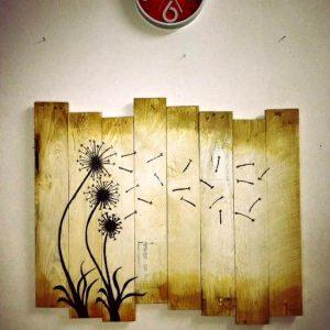 reclaimed wooden pallet dandelion wall decor art