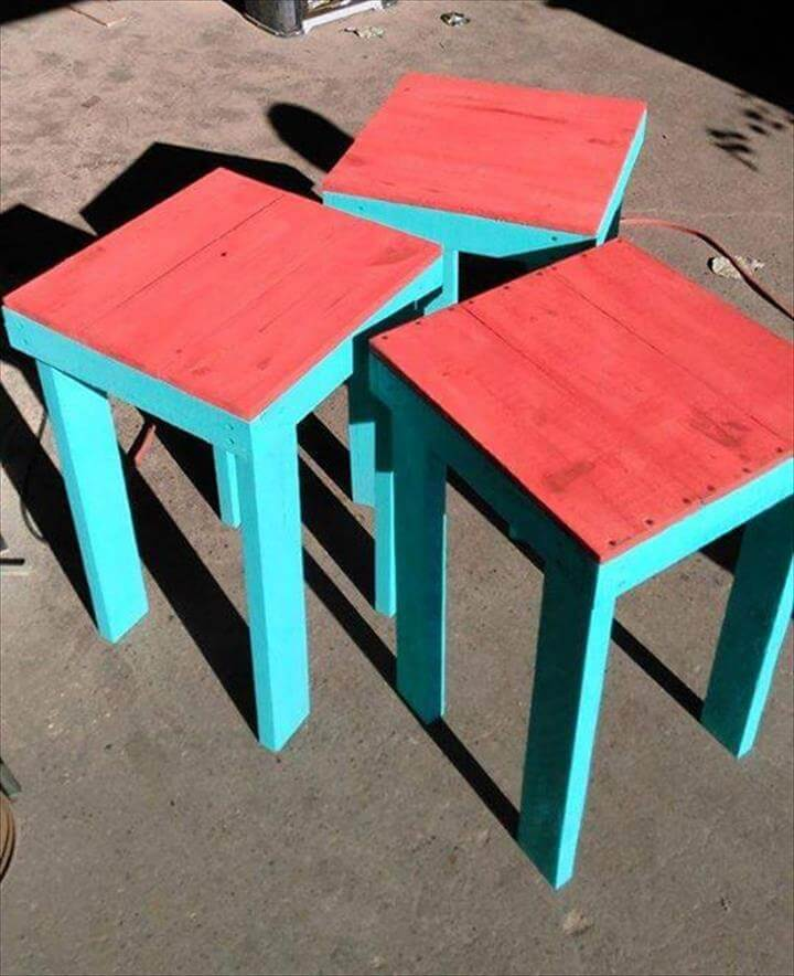 Salvaged Pallet Side Table With Storage