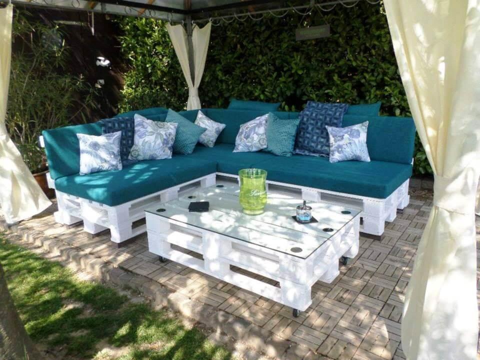 wooden pallet L-shape sofa set