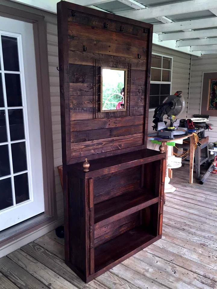 wooden pallet hall tree with built in shelves and mirror