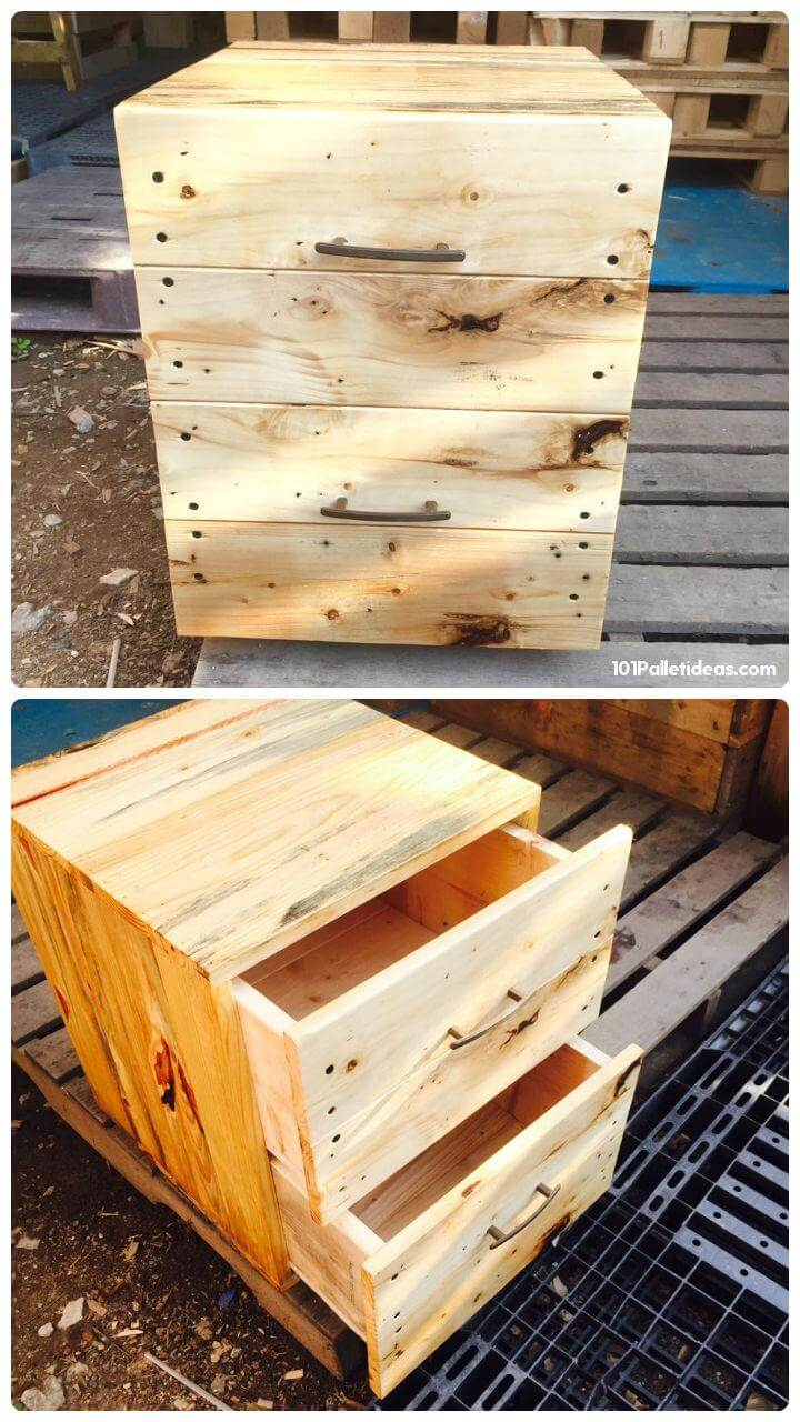 handmade wooden pallet nightstand or end table with 2 drawers