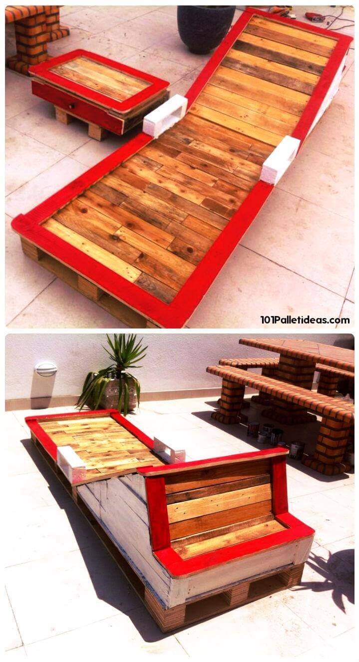 pallet patio chaise lounge or garden lounger
