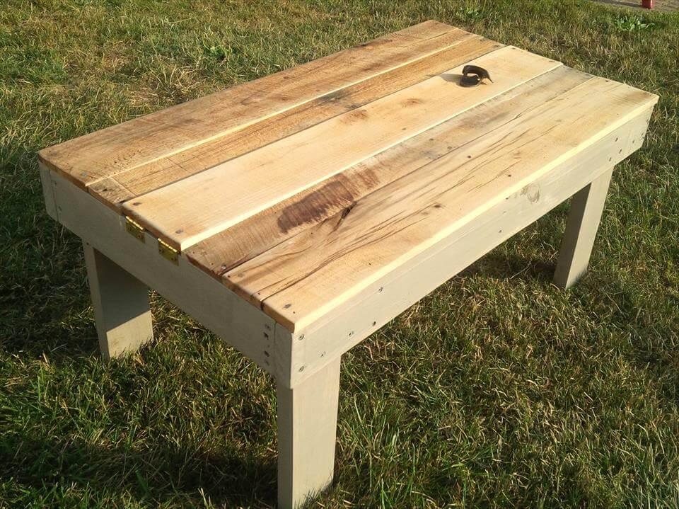 pallet secret beer cooler outdoor coffee table 101 pallet ideas