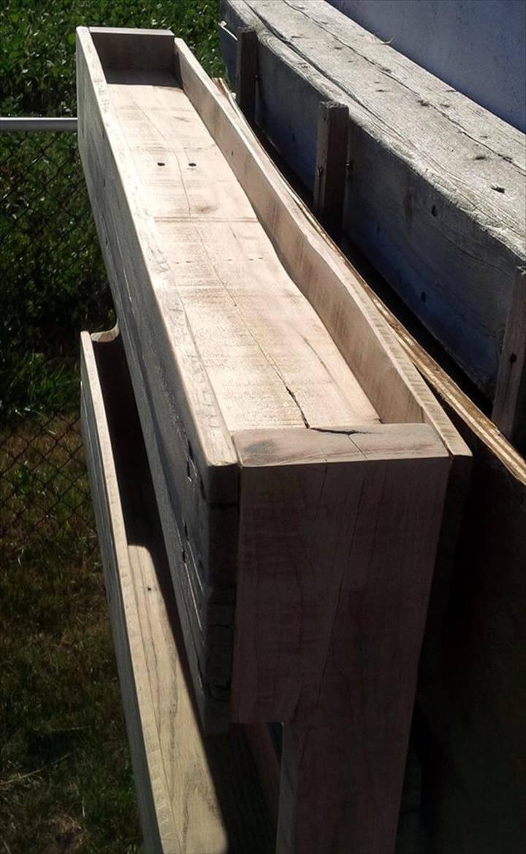 robust wooden pallet wall shelf
