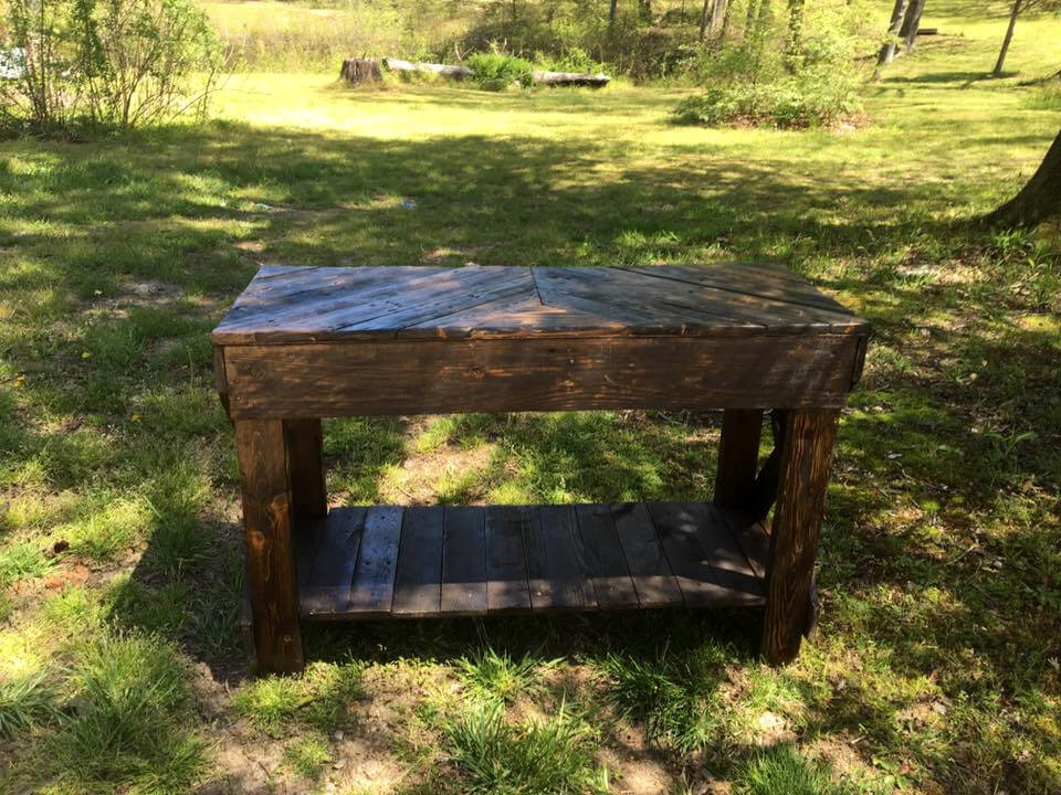 repurposed wooden pallet sofa table with built in shelf