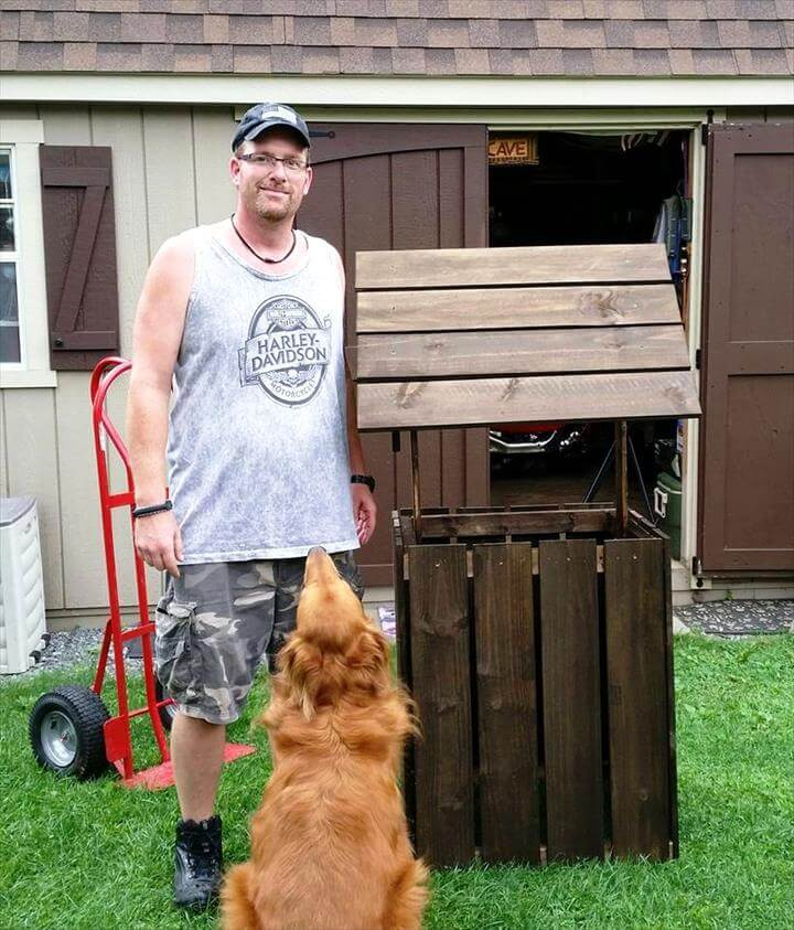 homemade wooden pallet garden wishing well