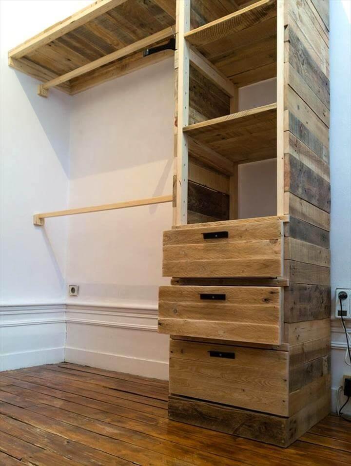 no-cost wooden pallet corner closet or cupboard
