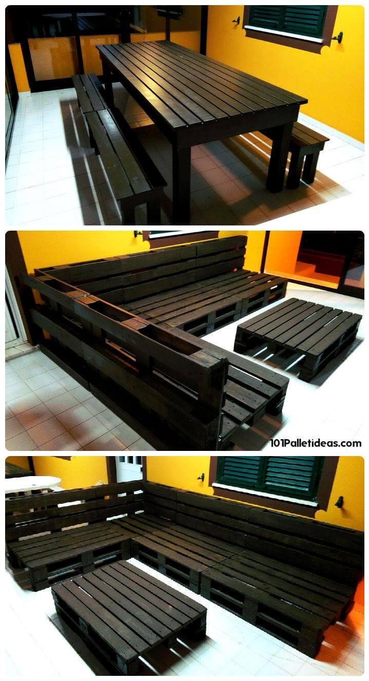 repurposed black stained pallet sofa and dining set